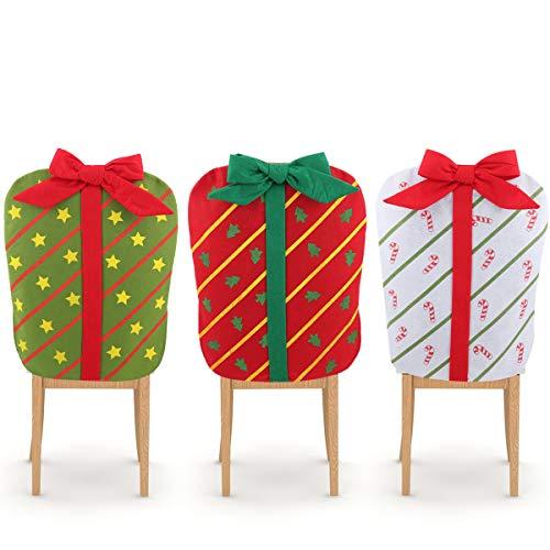Achort 3 Fundas para Silla de Navidad Fundas para Silla de Comedor de Navidad Cubiertas de Gorro de Decoración de Mesa para Celebración Navidad Accesorio de Adorno para Fiesta y Cena 60 * 48cm