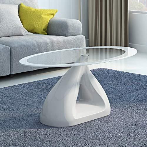 FKBED Gartenlounge Oval Couchtisch Ausgeglichenes Glas Hochglanz Fiberglas Basis Wohnzimmer Couchtisch Schwarz/Weiß/Rot (Color : White)