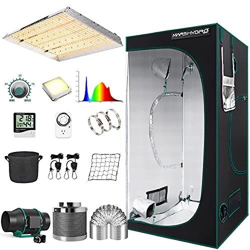 """MARS HYDRO Grow Tent Kit Complete 4x4ft TSW 2000W Led Grow Light Dimmable Full Spectrum,Indoor Grow Tent Kit 48""""x48""""x80"""" Hydroponics Growing Tent 1680D Canvas with 6 Inch Ventilation System"""
