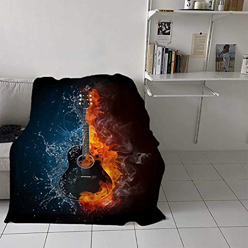Teresa Sophy Acoustic Guitar in fire and Water Luxury Special Grade Blanket The Acoustic Guitar in Elements Isolated on Black Background Multi Purpose use for Sofas, etc. W80 x L60 Inch