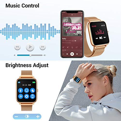 CanMixs Smartwatch, Fitness Armband Tracker 1,4 Voller Touch Screen Fitness Uhr IP67 Wasserdicht Armbanduhr Sportuhr Smart Watch mit Pulsuhren Schrittzähler Musiksteuerung für Damen Herren Kinder