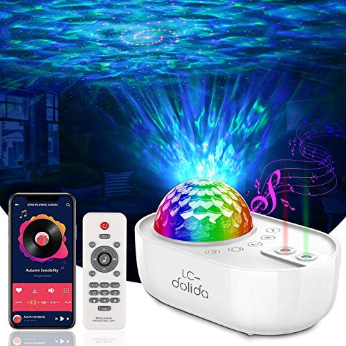 Star Projector Galaxy Light,Starry Night Light Projector for Bedroom with SYNC Bluetooth Music ,Ocean Wave Sky Light Mode for Kids Adults-USB Led Nebula Lamp Party Home Garden