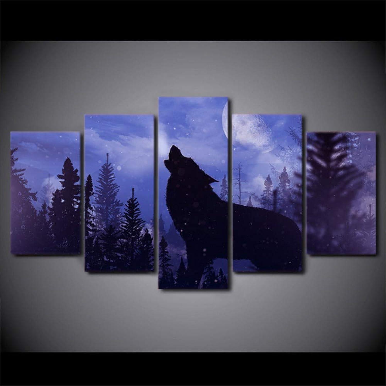 la mejor oferta de tienda online Tkuri Pintura en Lienzo Arte de la la la Parojo Decoración para el hogar 5 Piezas azul Moon Night negro Wolf Imágenes para Sala de Estar Moderno sin Marco - Marco T1  sorteos de estadio