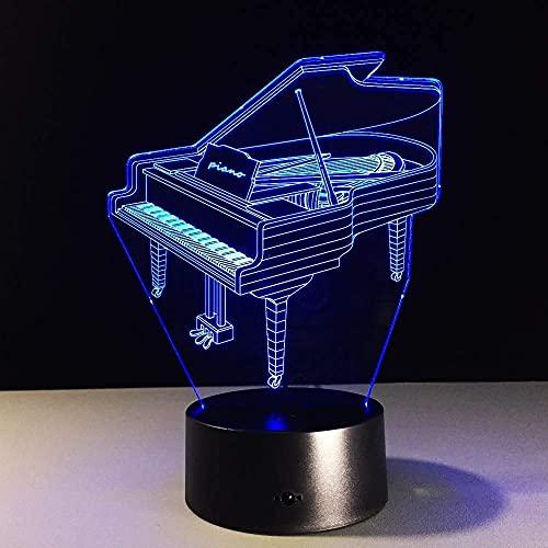 Jellyllyy 3D luz estéreo piano lámpara soporte lámpara para niños 7 colores cambio efecto de decoración de habitación luz táctil batería de inducción USB luz de estudiante