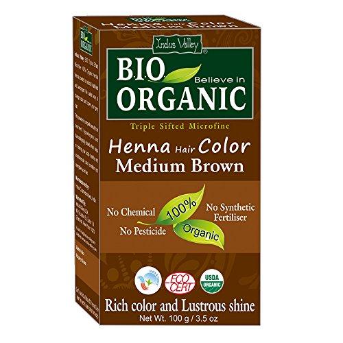 Indus Valley BIO Organic Mittelbraun Henna Haarfarbe - 100% rein und natürlich