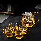 RORA ガラスティーポット600mlティーストレーナー付き透明ティーポット黒茶ティーポットセット耐熱ガラスノンブレイクティーカップフルーツティー、香り茶、黒茶、業務用、レストランショップ、ティーパーティー、ギフト