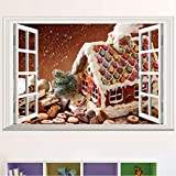 Xin Yao Store Ventana Falsa Paisaje Fondos De Navidad Decoración Blanca Casa De Nieve Pegatinas De Pared Sala De Estar TV Sofá 40X60Cm