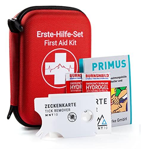 MNT10 Notfall Erste Hilfe Set Outdoor I Inhalt aus Deutschland nach DIN 13167 | First Aid Kit + Zeckenkarte + Beatmungshilfe I Mini Erste Hilfe Set für Kinder, Fahrrad, Wandern oder als Reiseapotheke