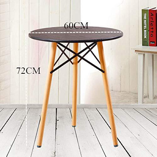 Eettafel LKU Nordic houten keuken eettafel meubelen ronde solide salontafel woonkamer eenvoudig en modern, zwart, 60