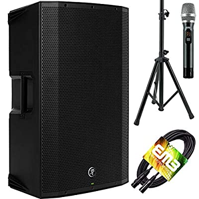 "Mackie Thump15BST THUMP-15BST Boosted 1300W 15"" Powered Loudspeaker (Single) with EMB Speaker Stand + EMB Microphone and EMB XLR Cable Bundle by Audio Watt Inc"