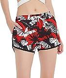SHEKINI Mujer Pantalones de Playa Pantalones Cortos Estampados Sueltos (L, Rojo)