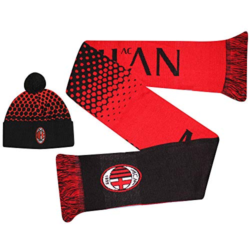 AC Milaan Officiële (Serie A) Voetbal Ski Hoed & Sjaal Gift Set