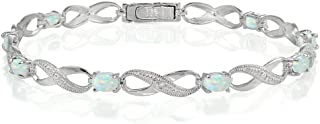 Sterling Silver Genuine or Created Gemstone Infinity Link Bracelet