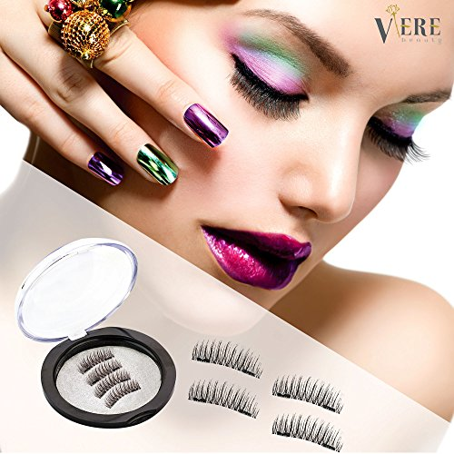 VereBeauty Magnetic False Eyelashes, Dual Magnetic Perfect Length for All Women Eyes, Handmade Soft Silk Sense, Natural Look, Glamorous Eyelashes (4 Pcs, Black)
