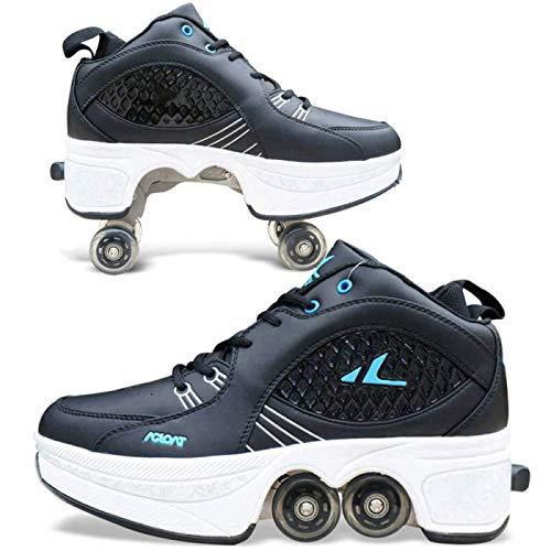 SHANGN Inline-Skate, 2-in-1-Mehrzweckschuhe, Verstellbare Quad-Rollschuh-Stiefel (Black2, 39.5)