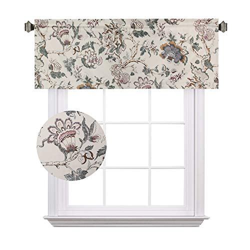 H.VERSAILTEX Energy Saving Curtain Valances Matching with Curtain Panels (Rod Pocket, 52 by 18 Inch, Flroal in Sage and Brown)