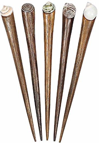 Haarnadel aus Holz mit Muschel, Haarschmuck, Anzahl:1 Stück