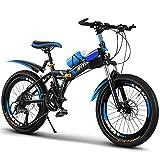 FUFU Bicicletas para niños y niñas, Bicicletas de 20 Pulgadas para niños de 9 a 14 años, con Guardabarros y Soporte. (Color : Blue)