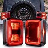 DOT Approved LED Tail Lights Compatible with Jeep Wrangler JK 2007-2017 Brake Reverse Light Rear Back Up Lights Daytime Running Lamps EMC Build-in Smoke Lens
