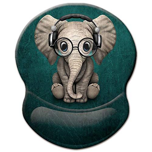 ITNRSIIET Gaming Mauspad Ergonomisch, Mousepad mit Handauflage Gel, Mouse Pad mit Lycra-Stoff, rutschfeste PU-Basis für Computer Gamer, Laptop, Heim, Büro & Reisen,Süßer Elefant