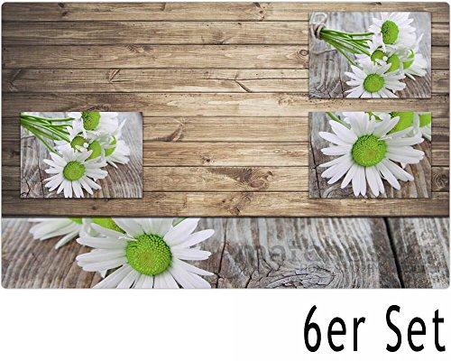 matches21 Tischset Platzset Platzmatten 6 Stk. weiße Margeriten auf Holzoptik Kunststoff abwaschbar 43,5x28,5 cm