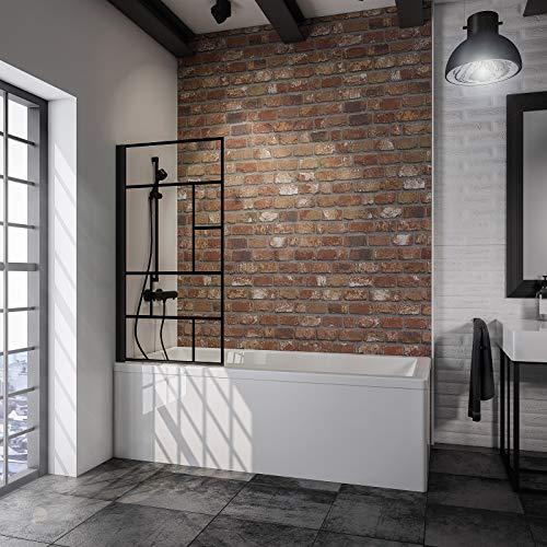 Schulte 4060991056833 - Mampara giratoria, pared abatible, pantalla de bañera Negro, 1 panel plegable, cristal decorativo taller