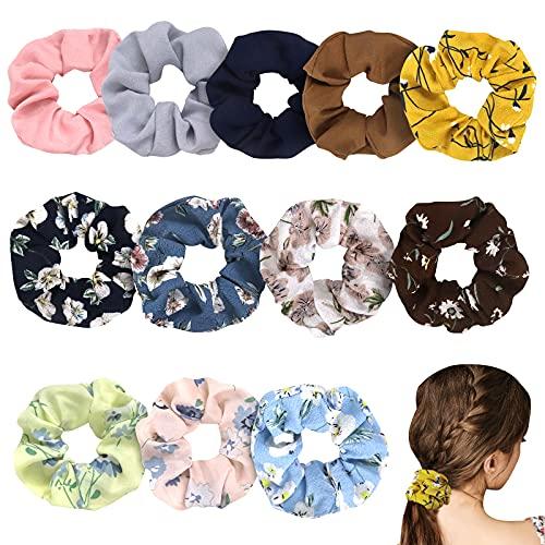 Scrunchies, 12 Stück Haargummis, Chiffon Blume Bunt Elastisch Haarbänder für Damen Mädchen, Pferdeschwanz Haarband, verschiedene Farben