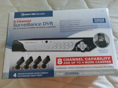 Bunker Hill Security 4-channel Surveillance DVR w/ 4 Cameras and Mobile Monitoring Capabilities