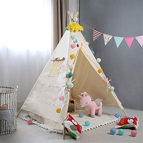 Schattig Zhoumei Daily Life Play Tent Portable Cotton Canvas Tent Indoor Kamer inrichten Playhouse Tenten Fotografie Props Teepee for Meisjes Jongens Babies Kleine met Gordijnen Window (Kleur: C1, Maa