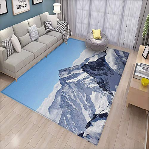 Winter Bedroom Floor mat Snowy Rocky Mountain Peaks Tops Scene High Lands ICY Frozen Swiss Outdoor Art Front Door mat Non-Slip 6.6'x9' Blue and White