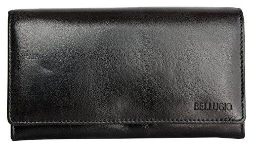 Portafoglio nero Bellugio realizzato in vera pelle resistente