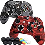 [2 Pack] Xbox One Controller COD Skin Premium Silicone Cover, Comfortable Grip Non-Slip Sweatproof Protector Case, for Microsoft Xbox One Controller, Camouflage Red&Grey, with Thumb Grips x 12