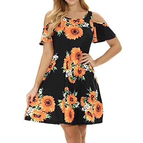 ღCommittedeღ Damen Freizeit Minikleid Lose Langarm T-Shirt Kleid Rundhals Schulterfrei Sonnenblume Blumenkleid Tunika