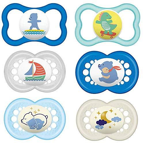 """Mam """"Day & Night"""", set da 6 ciucci in lattice Originale & Air per maschietti a partire dai 16 mesi, inclusi 3 contenitori sterili per il trasporto"""