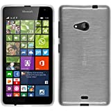 PhoneNatic Hülle kompatibel mit Microsoft Lumia 535 - weiß Silikon Hülle Brushed + 2 Schutzfolien