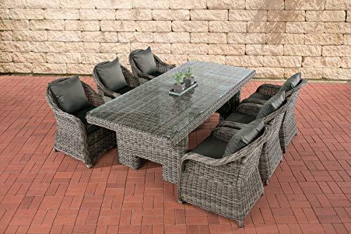 CLP/de mimbre juego de comedor sillones de jardín Candela, grey-mottled, 6sillones incluye...