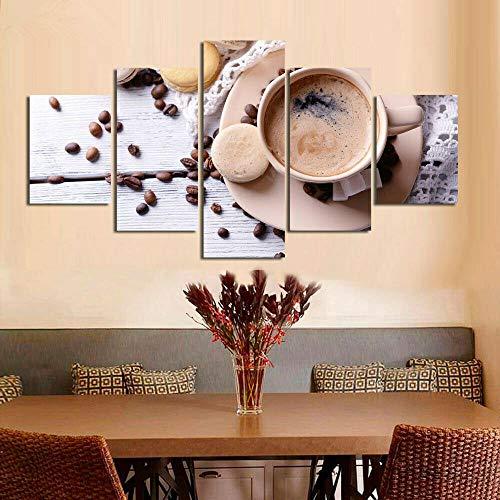 GSDFSD Pintura sobre Lienzo 150x80cm(60' W x 32' H),Frijol de Taza de café Imagen Impresión, Pintura Decoración, Diseño de la Naturaleza, 5 Piezas, con Marco.