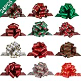 "PintreeLand 24PCS Christmas Wrap Pull Bows with Ribbon 5"" Wide Wrapping Accessory for Xmas Present, Gift, Florist, Bouquet, Basket Decoration, Easy to Assemble"