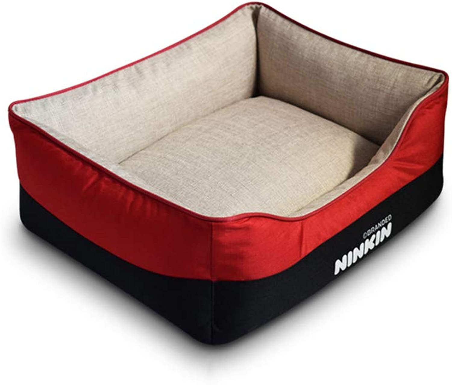Dog Basket Bed Cushion Washable Durable Linen Inside Full Filling Comfortable Inner Cushion Four Seasons Universal (color   Khaki and red, Size   XL)