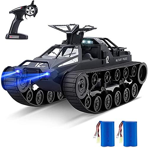 Weaston Spray Camión con control remoto, Escala 1:12 Off-Road Crawler RC Car, Tanque de deriva giratorio de 360 °, Vehículo RC de 2.4Ghz, para niños y adultos, Dos baterías para más de 45 minutos de