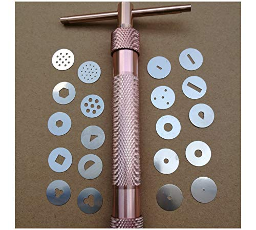 Clay Extruder - Polymer Clay Extruder, Stainless Steel Clay Extruder Gun, Alloy Rotary Mold Sugar Polymer Clay Extruder Craft Gun, Cake Fondant Sculpture Decorating Tool Sculpting Tool