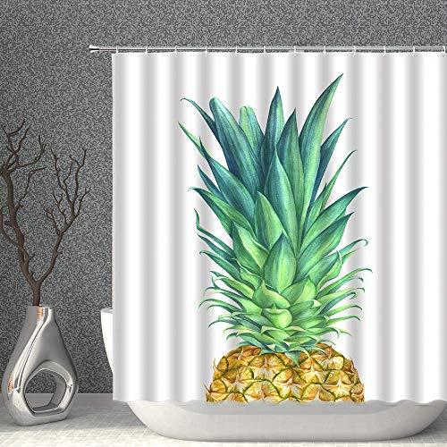 NJMRZX Duschvorhang, Ananas-Dekor, Wasserfarben, tropische Früchte, Blätter, grün-gelb, Stoff, Badezimmer, Gardinen, 183 x 183 cm, wasserdicht, Polyester mit Haken
