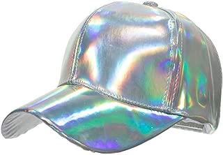 sissycos Shiny Holographic Baseball Cap Laser Leather Rainbow Reflective Glossy Snapback Hats