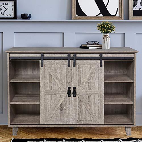 GOOD & GRACIOUS Sideboard, Modern Mid Century Industrial Sideboard for Livingroom, Home Office 3-Tier Sliding Barn Door Kitchen Buffet Storage Cabinet