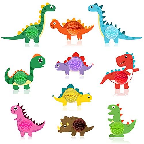 Syijupo Juego de 10 piezas de dinosaurios para bebé, diseño de panal de abeja, decoración de mesa, dinosaurios para niños, celebración de cumpleaños, fotomatón