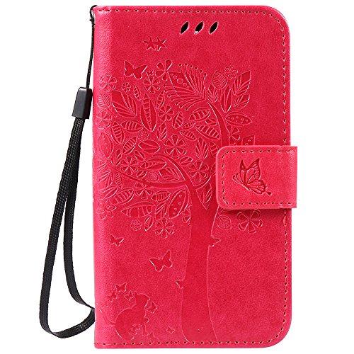 C-Super Mall-UK LG K3 hülle: Geprägte Baum Katzen-Schmetterlings-Muster PU-Leder-Mappen-Standplatz -Schlag-hülle für LG K3(Rose rot)