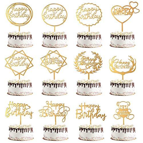 Decoración Tarta Cumpleaños,12 Niña,Adultos,Decoraciones Para Fiesta De Feliz Cumpleaños,Topper Tarta Cumpleaños,Juego De Decoración Para Tartas—Dorado