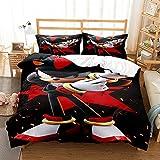 Sonic - Juego de cama de microfibra para niños, 3 piezas, incluye 1 funda de edredón, 2 fundas de almohada (SNK05, King 220 x 240 cm)