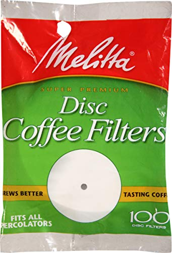Melitta Super Premium Percolator Disc Coffee Filters, White, 100Count