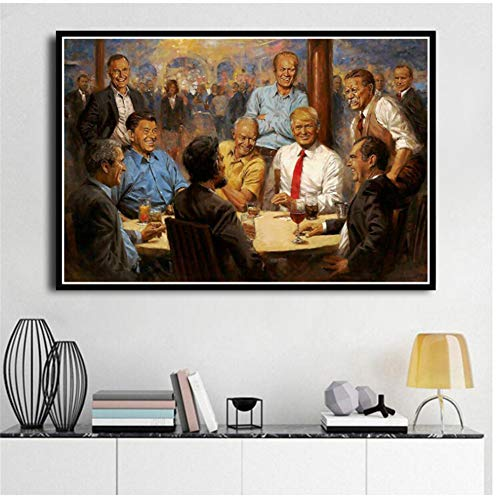 ad Nuevo Donald Trump President Hot Painting Great USA Poster Prints Art   Light Canvas Imagen de la Pared para la decoración de la habitación del hogar -60x90cm Sin Marco